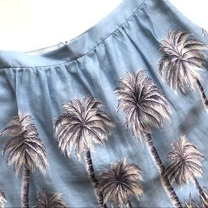 J. Crew blue pleated mini skirt with palm print